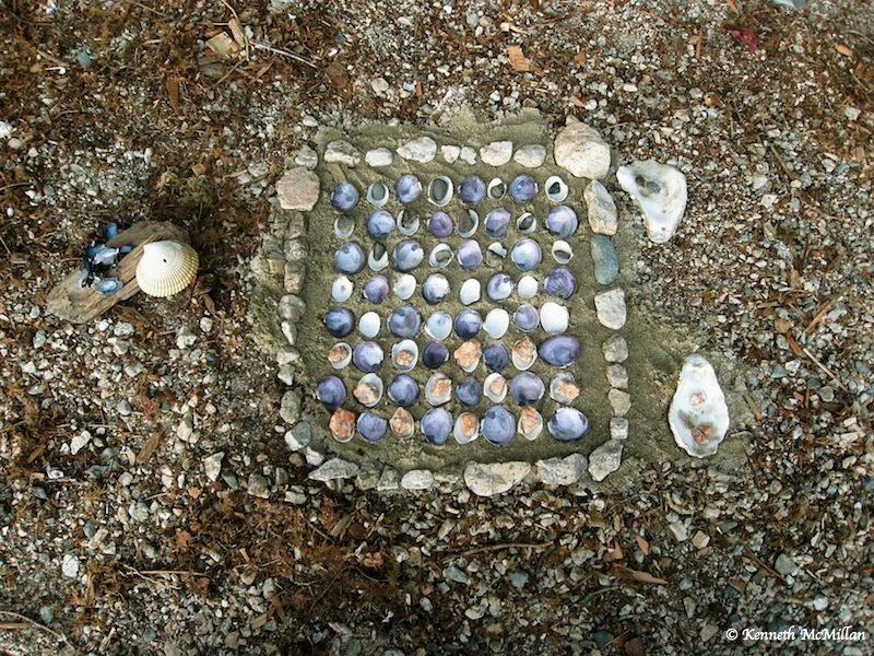 On our annual kayak trip up Sechelt Inlet in 2007 we got stuck for three days at a marine park due to high wind.  Our daughter created a checkerboard out of clam and mussel shells with coloured stones for markers.  Sometimes boredom is the Mother of Invention!
