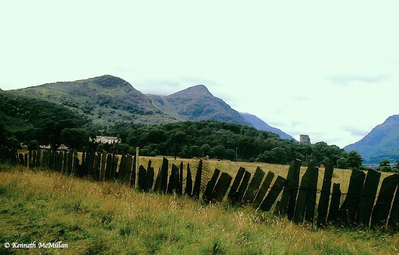 Llanbaris, Wales at the base of Mount Snowden.  Site of the Llanbaris Slatemines that shut down in 1969.  Note the slate picket fence.