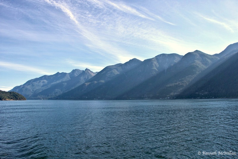 Howe Sound looking north.  The highway to Squamish and Whistler follows the coastline.