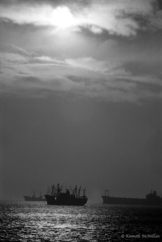 Freighters at Anchor - January 1972