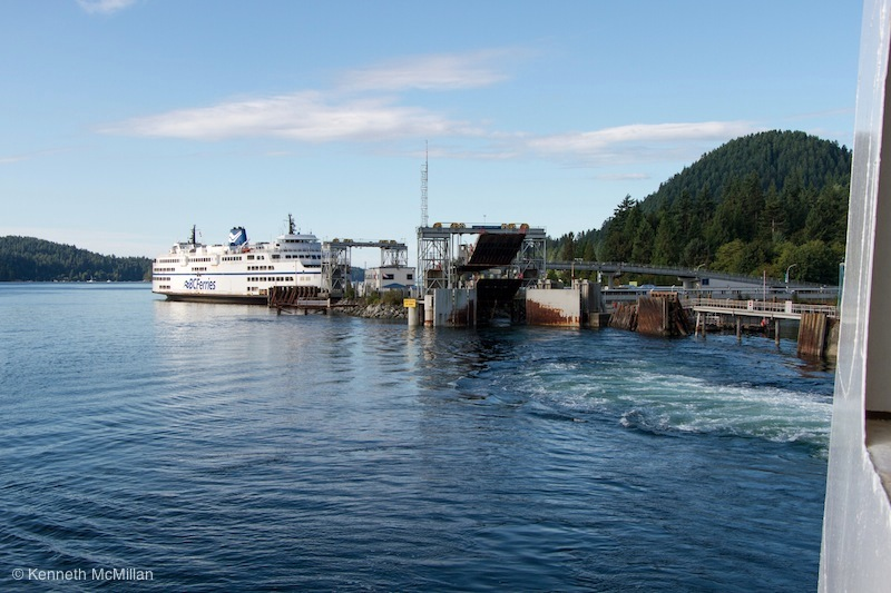 Leaving the Langdale ferry dock. A spare ferry in it's berth.