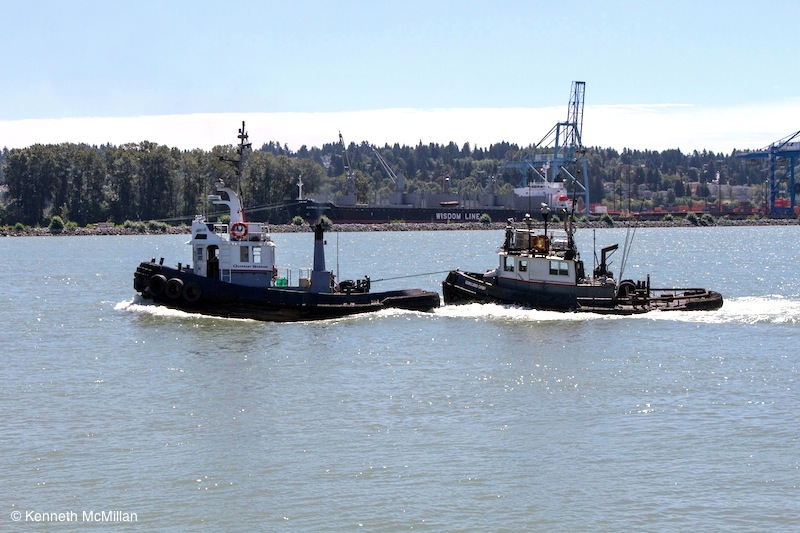 Tow boat towing a towboat. The Fraser is very much a working river.