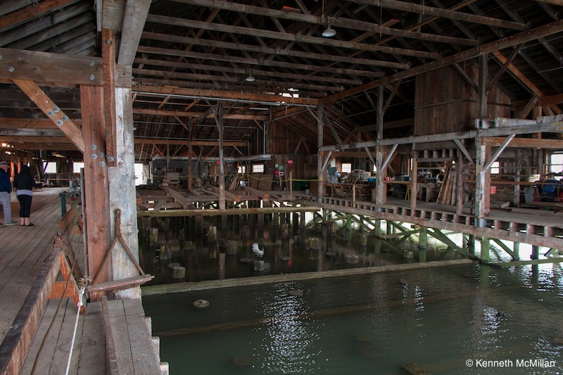 The boats would come right inside the building to be worked on.