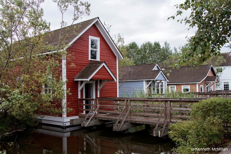 The area is being restored to give the feel of old time Steveston. The houses were originally built out over the river on pilings and interconnect by wood boardwalks.