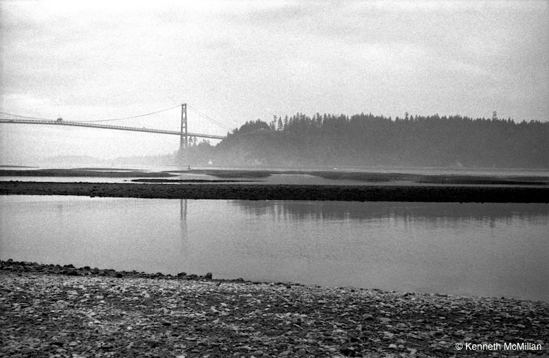 Location: Mouth of the Capitano River, West Vancouver, British Columbia, Canada. Lions Gate Bridge and Stanley Park in the background.